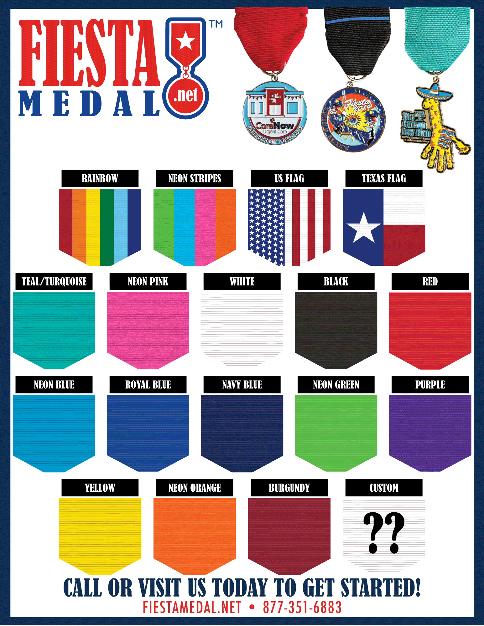 Fiesta Medal Ribbon Options